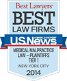 U.S. News Best Law Firms 2014: Medical Malpractice Law-Plaintiffs Tier 1 NYC